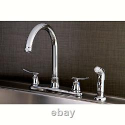 8-Inch Center set Kitchen Faucet Solid Brass with Sprayer Polished Chrome Modern