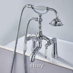 Aolemi Polish Chrome Deck Mount Clawfoot Bathtub Faucet 6 Inch Center 2 Holes