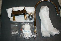Elkay 4 Centers Utility Faucet 8 Gooseneck Spout 4 Wristblade Handles Chrome