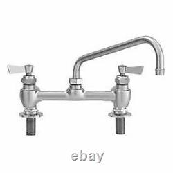 Fisher 8 Centers Deck Faucet With10 Swing Spout, Stainless Steel, 57657
