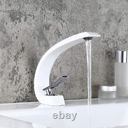 Homary 1-Handle Single Hole Solid Brass Sink Faucet Bathroom Curved Spout