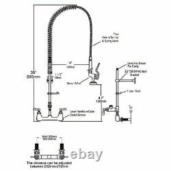 IMLEZON Commercial Sink Faucet with Pull Down Sprayer 8 Center Wall Mount 35 H