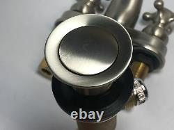 Jaclo 6460-C-SN 4 Center Lavatory Faucet with Cross Handle & Brass Pop-Up Drain