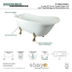KINGSTON BRASS VT7DE672826C2 67-Inch Acrylic Claw Foot Slipper Tub with 7-Inc