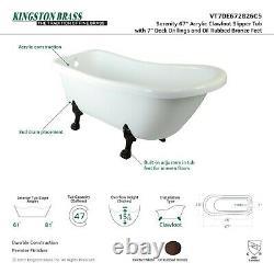 KINGSTON BRASS VT7DE672826C5 67-Inch Acrylic Claw Foot Slipper Tub with 7-Inc