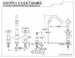 Kingston Brass 8 Center Kitchen Faucet With Side Sprayer KS1278AXBS