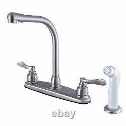 Kingston Brass FB718NFL 8-Inch Center High-Arch Kitchen Faucet, Brushed Nickel