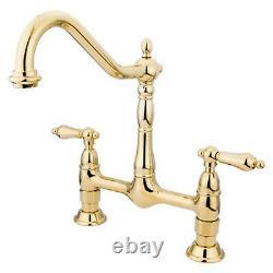 Kingston Brass Heritage Double Handle 8 Center Bridge Kitchen Faucet