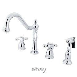 Kingston Brass KB1791AXBS Heritage 8 Center Kitchen Faucet Polished Chrome