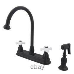 Kingston Brass KB3755PXBS Deck Mount 8 Center Kitchen Faucet, Porcelain Cross