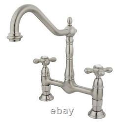 Kingston Brass KS1178AX 8 Inch Center Deck Mount Kitchen Faucet Satin Nickel