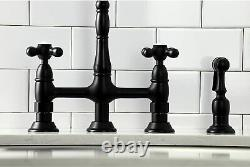 Kingston Brass KS1270AXBS Heritage 8 Center Kitchen Bridge Faucet, 8-9/16