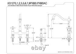 Kingston Brass KS1271PXBS 8-in Center Heritage Two Handle Bridge Kitchen Faucet