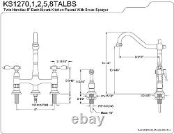 Kingston Brass KS1278TALBS Tudor 8 Inch Center Kitchen Faucet With Brass Brushed