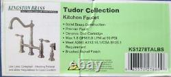 Kingston Brass KS1278TALBS Tudor 8 Inch Center Kitchen Faucet With Brass Sprayer