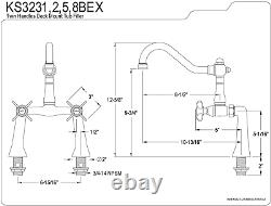 Kingston Brass KS3238BEX Essex 7-Inch Center Deck Mount Clawfoot Tub Faucet
