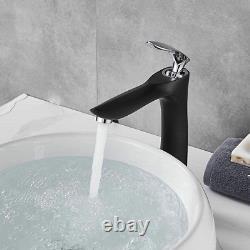 Leekayer Bathroom Vessel Sink Faucet Tall Body Black Painting Single Handle Chro