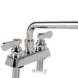 Low Lead Deck Mount Heavy Duty Faucet 4 Centers 12 Swing Spout Commercial Sink