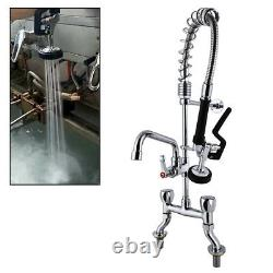 MS 4-8 Center Deck Mount Pre Rinse Kitchen Faucet with Spray Valve Add on Spout