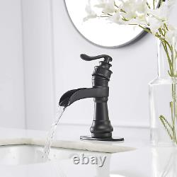 Matte Black Bathroom Faucet Waterfall Single Hole Vanity With Pop Up
