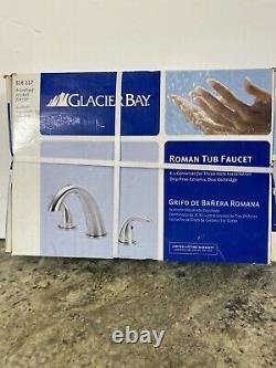 New Glacier Bay Roman 2 Handle Tub Faucet Brushed Nickle 816-117 8 Center
