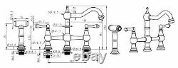 Unlacquered Brass Deck Mount Kitchen Bridge Faucet Sprayer 8 inches on center