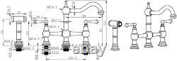 Watermark Fixtures WMF-DM-4H-SP-NB Unlacquered Brass 8-Inch On Center Deck Mount