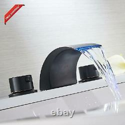 Widespread Bathroom Sink Faucet Led Light Oil Rubbed Bronze Waterfall Bath Tub G