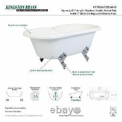 Aqua Eden Vt7ds672924h1 67 Pouces Acrylique Double Ended Clawfoot Tub Avec 7 Pouces