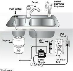 Distributeur Instantané D'eau Chaude À Poignée Unique Dans Satin Nickel Avec Contrôle De La Température