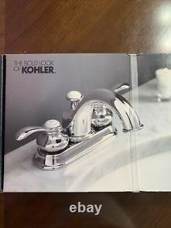 Kohler Fairfax R12266-4dn-cp 4 Centres Robinet D'évier De Salle De Bains Poli Chrome Nouveau