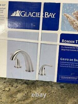 New Glacier Bay Roman 2 Robinet De Baignoire À Poignée Brossé Nickle 816-117 8 Centre