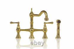 Unlacquered Brass Deck Mount Kitchen Bridge Robinet Pulvérisateur 8 Pouces Au Centre